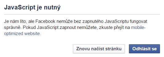 Facebook bez JS