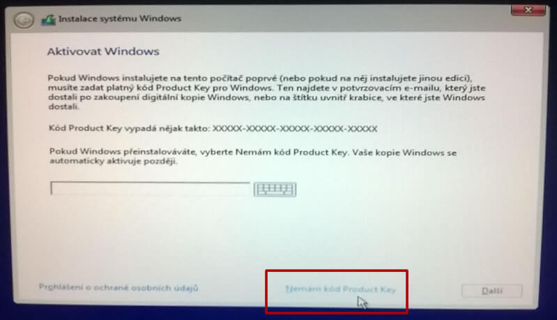 Aktivace Windows 10