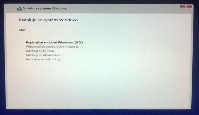 Instalace windows 10 z dvd