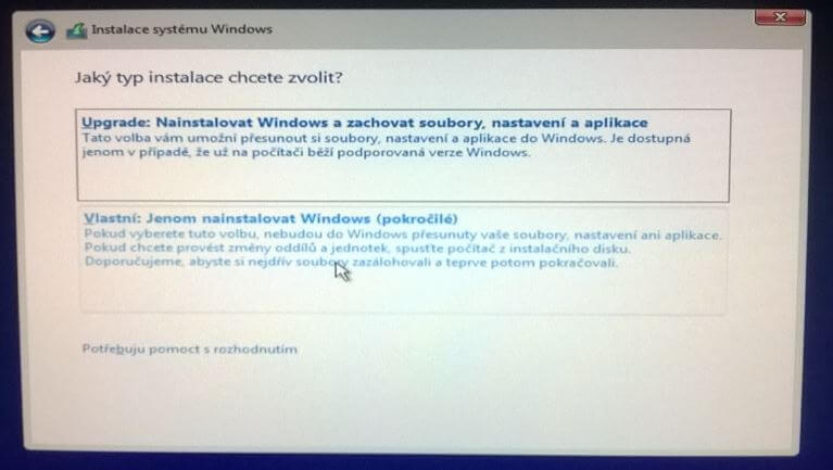 Typ instalace Windows 10