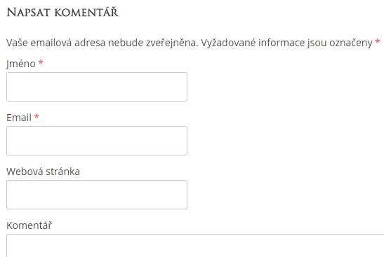 Formulář pro zaslání komentáře ve WordPressu