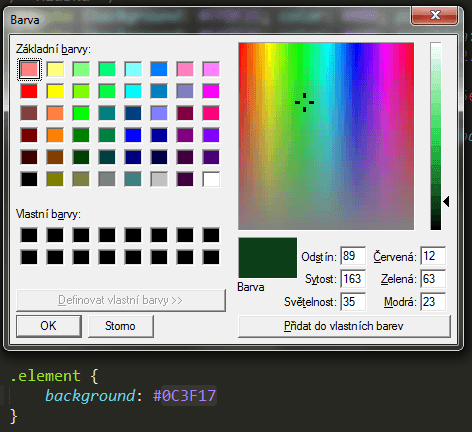 Color-picker v Sublime Text