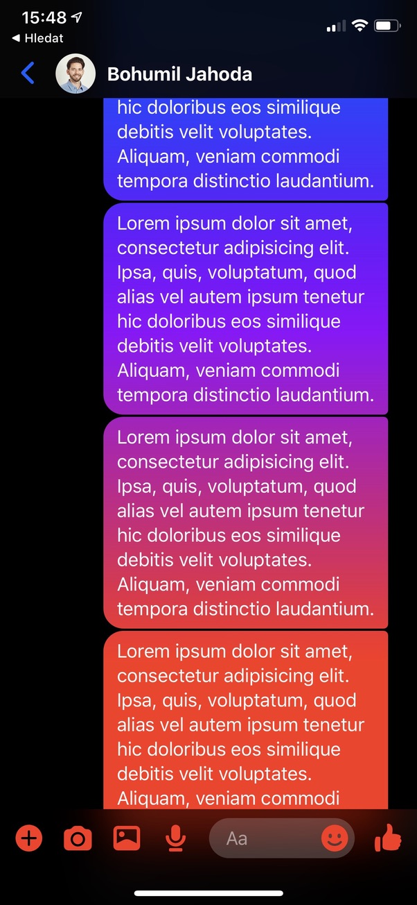 Gradient na pozadí ve FB Messengeru